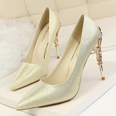 Frauen Satin Stöckel Absatz Absatzschuhe Geschlossene Zehe mit Schmuckabsatz Schuhe