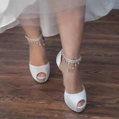 Vrouwen Satijn Stiletto Heel Peep Toe Pumps Sandalen met Strass