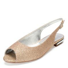 Vrouwen Sprankelende Glitter Flat Heel Peep-toe met Strass Lovertje Sprankelende Glitter