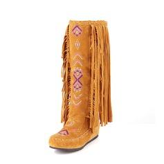 Femmes Suède Talon plat Chaussures plates Bout fermé Bottes mi-mollets Bottes neige avec Tassel Autres chaussures