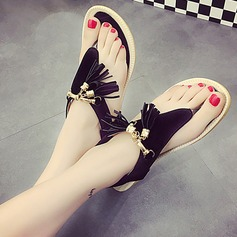 Kvinnor Mocka Flat Heel Sandaler Peep Toe Slingbacks med Kedja Tofs Elastiskt band skor