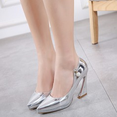 Women's Patent Leather Chunky Heel Pumps Platform Closed Toe With Rhinestone shoes