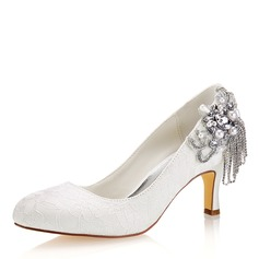 Women's Silk Like Satin Stiletto Heel Closed Toe Pumps With Crystal