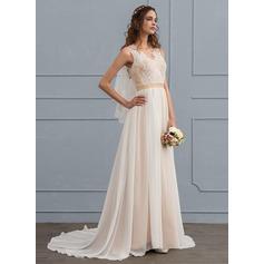Forme Princesse Col V Traîne moyenne Mousseline de soie Robe de mariée