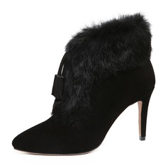Kvinnor Äkta läder Stilettklack Pumps Stängt Toe Stövlar Halva Vaden Stövlar med Tofs Päls skor