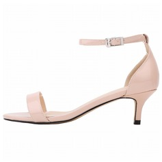 Women's Patent Leather Low Heel Sandals Peep Toe shoes (087091909)