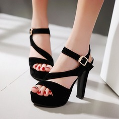 Women's Leatherette Stiletto Heel Sandals With Buckle Hollow-out shoes (087115585)