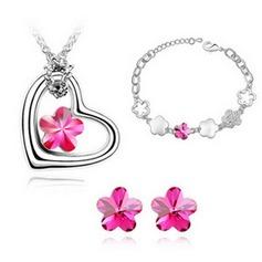 Blomma Formad Legering/Kristall Damer' Smycken Sets