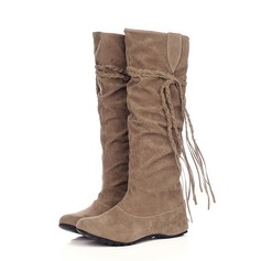 Women's Suede Low Heel Knee High Boots shoes (088059493)