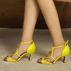 De mujer Satén Tacones Sandalias Salón Danza latina con Rhinestone Zapatos de danza
