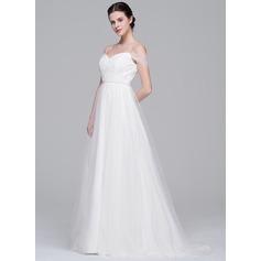 Vestidos princesa/ Formato A Off-the-ombro Sweep/Brush trem Tule Vestido de noiva com Pregueado Beading lantejoulas