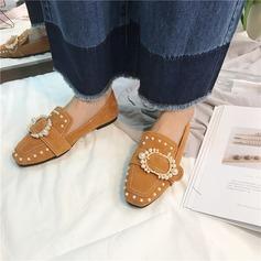Femmes Suède Talon plat Chaussures plates Bout fermé avec Strass Perle d'imitation Rivet chaussures