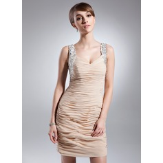 Etui-Linie Herzausschnitt Kurz/Mini Chiffon Kleid für die Brautmutter mit Rüschen Perlen verziert Pailletten