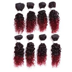 Frisé cheveux synthétiques Tissage en cheveux humains 8PCS 180g