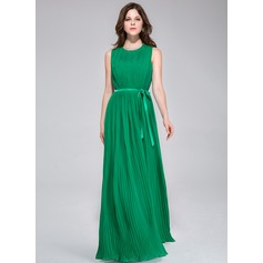 A-Line/Princess Scoop Neck Floor-Length Chiffon Bridesmaid Dress With Pleated