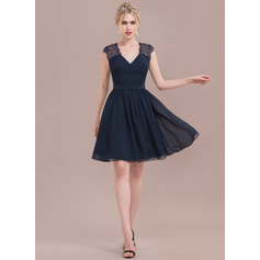 A-Line V-neck Knee-Length Chiffon Lace Cocktail Dress (016124642)