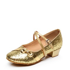 Kids' Leatherette Flats Ballroom With Bowknot Buckle Sequin Dance Shoes
