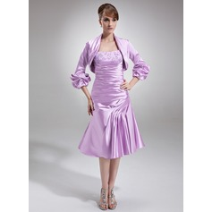 A-Line/Princess Knee-Length Charmeuse Mother of the Bride Dress With Ruffle Lace Beading