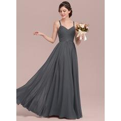 A-Line/Princess Sweetheart Floor-Length Chiffon Lace Bridesmaid Dress With Ruffle