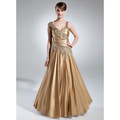 A-Linie/Princess-Linie V-Ausschnitt Bodenlang Charmeuse Kleid für die Brautmutter mit Rüschen Perlen verziert