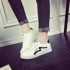Donna PU Senza tacco Ballerine con Allacciato scarpe