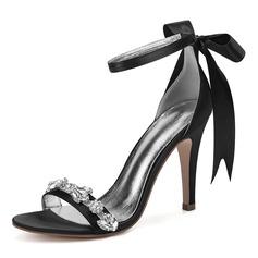 Kvinnor siden som satin Stilettklack Öppen tå Pumps Sandaler med Strass Ribbon Tie Bandage