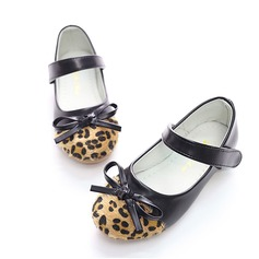 Girl's Leatherette Flat Heel Round Toe Closed Toe Flats With Bowknot Velcro Animal Print