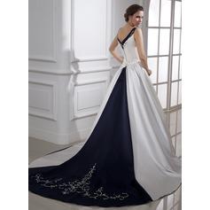 Robe Marquise Col V Traîne mi-longue Satiné Robe de mariée avec Broderie Brodé Paillettes
