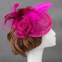 Magnifique Coton Chapeaux de type fascinator/Fleurs et plumes