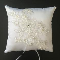 Bloemen ontwerp Ring Kussen in Satijn/Kant met Steentjes/Imitatie Parel