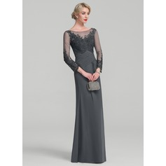 A-Line/Princess Scoop Neck Floor-Length Chiffon Lace Mother of the Bride Dress With Ruffle (008114226)
