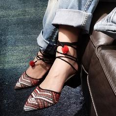 Naisten Aitoa nahkaa Chunky heel Avokkaat Suljettu toe jossa Punottu hihna kengät