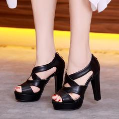 Женщины кожа Устойчивый каблук Сандалии На каблуках Платформа Открытый мыс с Застежка-молния В дырочку обувь (087124456)