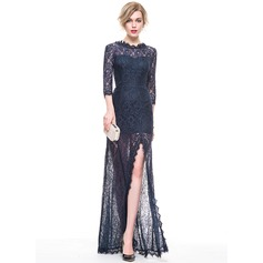 A-Line/Princess Scoop Neck Floor-Length Lace Evening Dress With Split Front (017083842)