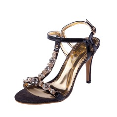 Mulheres Couro Salto agulha Sandálias Sapatos abertos com Strass sapatos