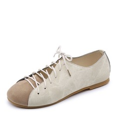 Women's Canvas Flat Heel Flats Closed Toe With Lace-up shoes