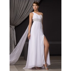 Sheath/Column One-Shoulder Watteau Train Chiffon Evening Dress With Ruffle Beading Sequins Split Front