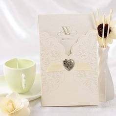Estilo Florais e do bolso Invitation Cards com Fitas (Conjunto de 50)