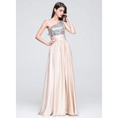 Vestidos princesa/ Formato A Um ombro Longos Charmeuse Lantejoulas Vestido de baile com Pregueado