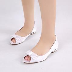 Femmes Soie comme du satin Talon bas Chaussures plates À bout ouvert avec Bowknot