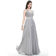 A-Line/Princess Scoop Neck Floor-Length Chiffon Evening Dress With Bow(s) Cascading Ruffles