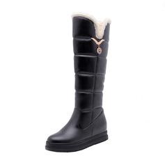Kvinder Kunstlæder Flad Hæl Platform Støvler Knæhøje Støvler Snestøvler med Crystal sko