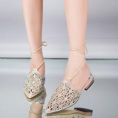 Kvinnor Konstläder Låg Klack Sandaler Beach Wedding Shoes med Bandage