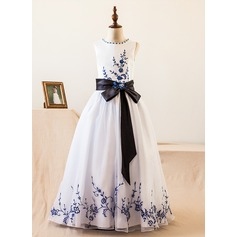A-Line/Princess Floor-length Flower Girl Dress - Organza/Satin Sleeveless Scoop Neck With Sash/Beading/Bow(s) (010104985)