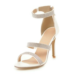 Vrouwen PU Stiletto Heel Sandalen Pumps Peep Toe met Strass Kristal Rits schoenen