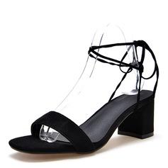 Donna Camoscio Tacco spesso Sandalo Stiletto Punta aperta Con cinturino con Allacciato scarpe