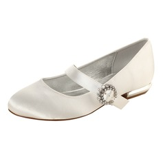 Women's Silk Like Satin Low Heel Closed Toe Flats MaryJane With Buckle (047133543)
