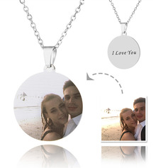 Custom Silver Round Cut Color Printing Photo Necklace - Mother's Day Gifts (288234218)