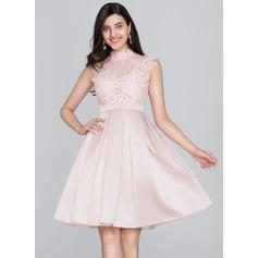 A-Line High Neck Knee-Length Satin Homecoming Dress