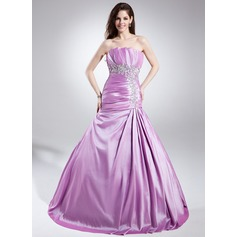 A-Line/Princess Scalloped Neck Sweep Train Taffeta Prom Dress With Embroidered Ruffle Beading